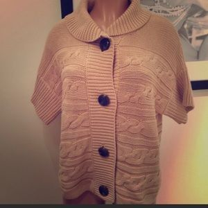 Talbots Tan Chunky Knit Button Sweater Size Large